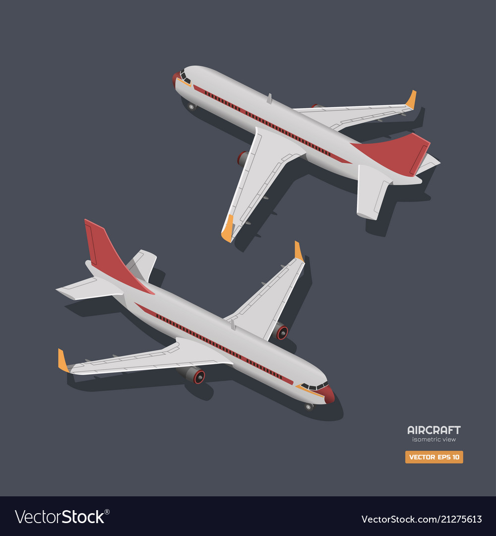 Civil aircraft in isometric style