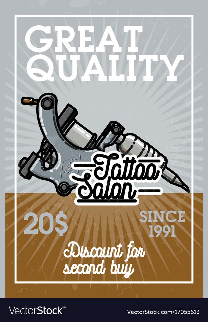 Color vintage tattoo shop banner