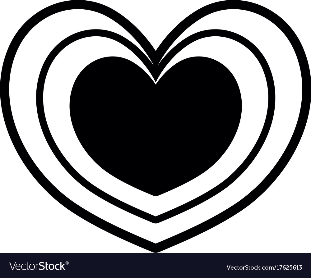 Contour Heart Symbol Of Love And Passion Icon Vector Image