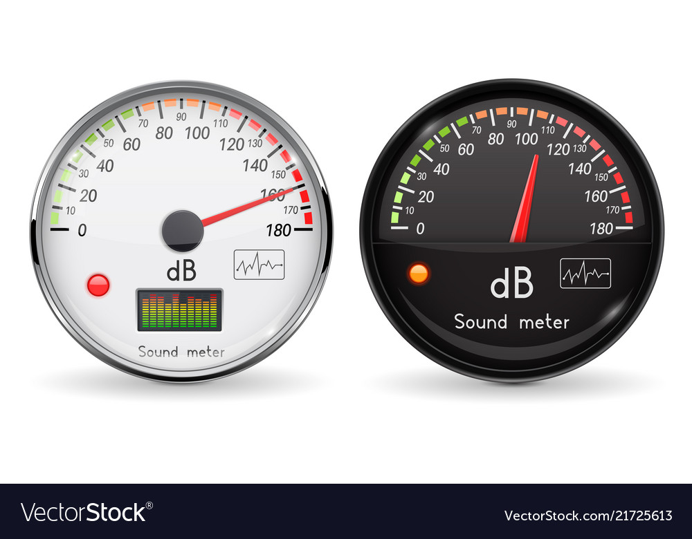 Decibel gauge volume unit glass gauge with vector image