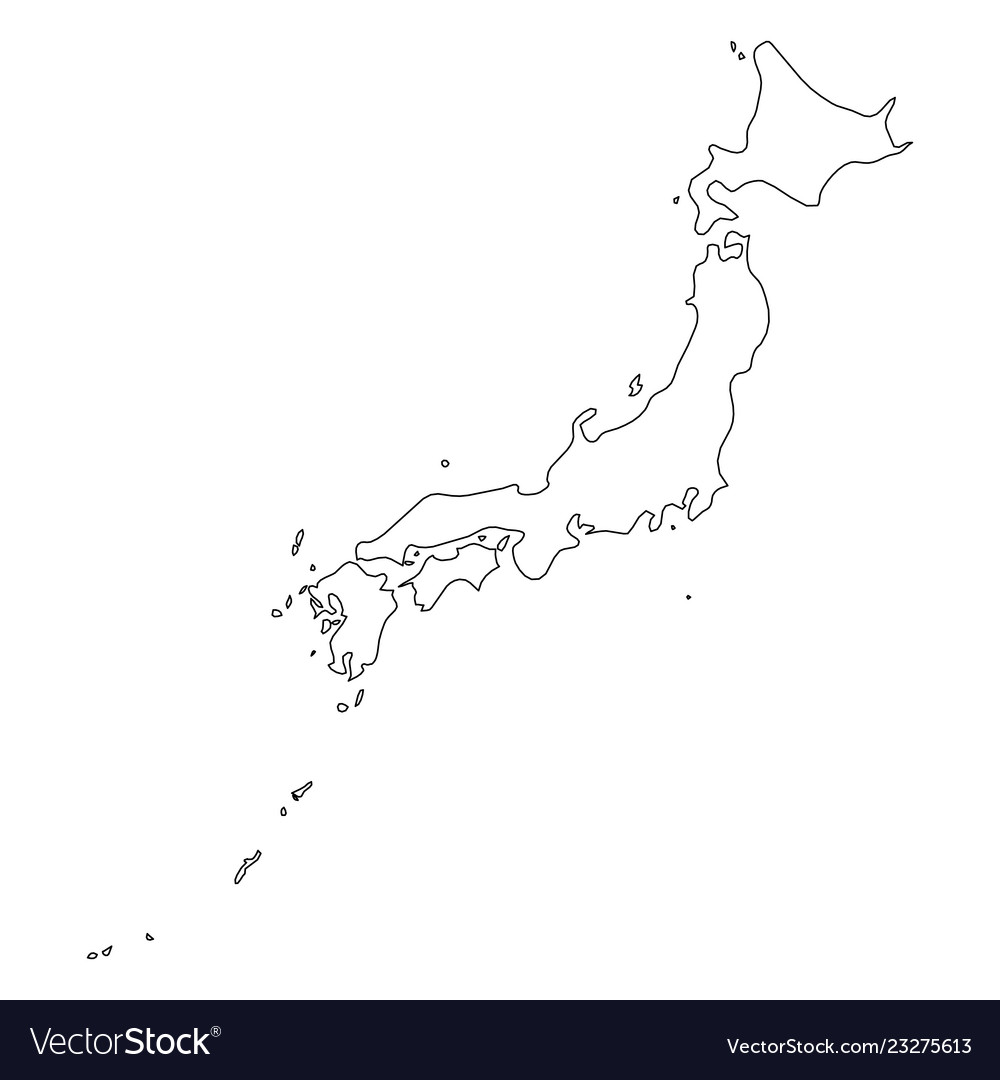 Japan Solid Black Outline Border Map Of Country Vector Image
