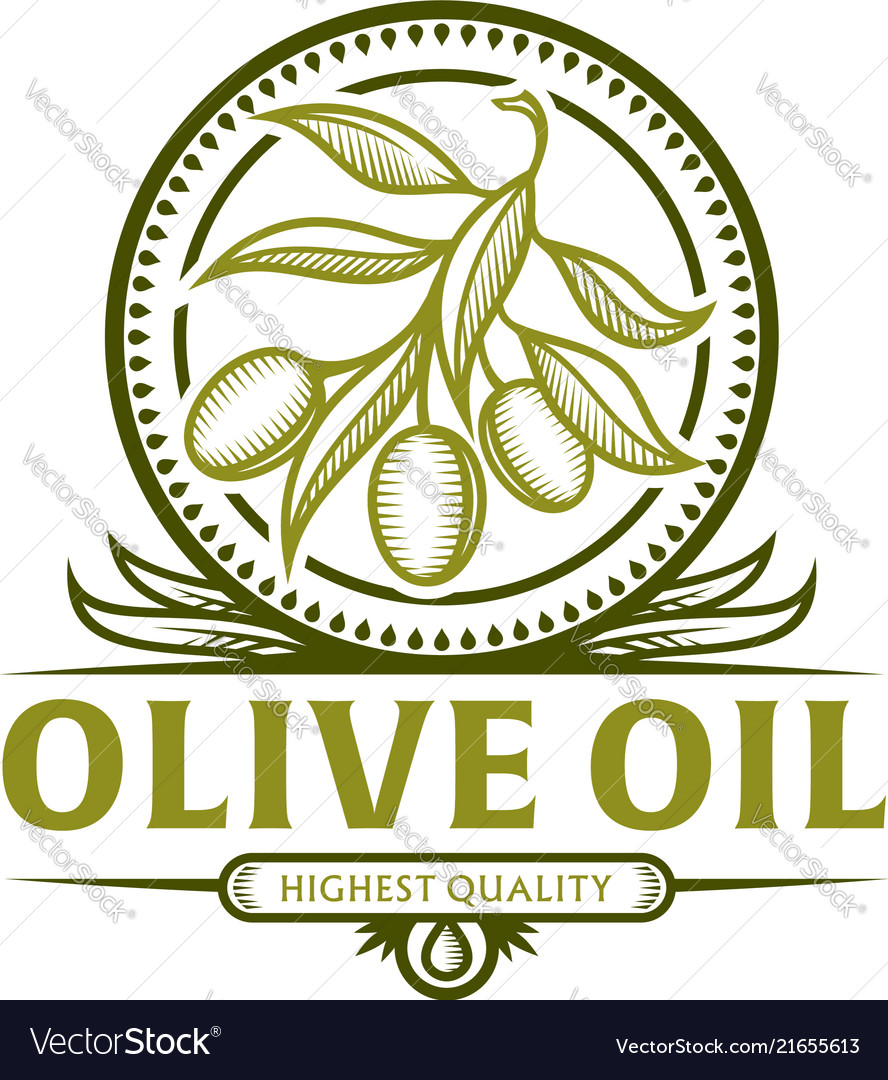 Olive branch icon for olive oil label
