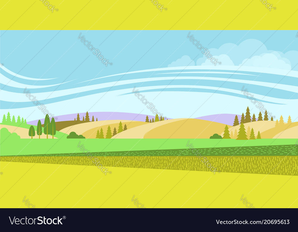 Rural landscape nature background with fields