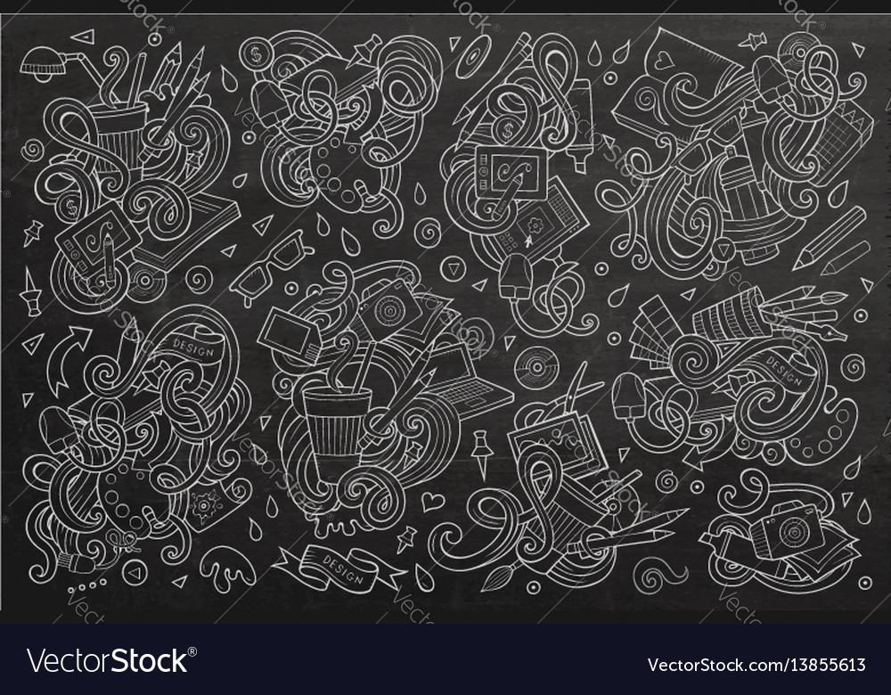 Set of design theme items vector image