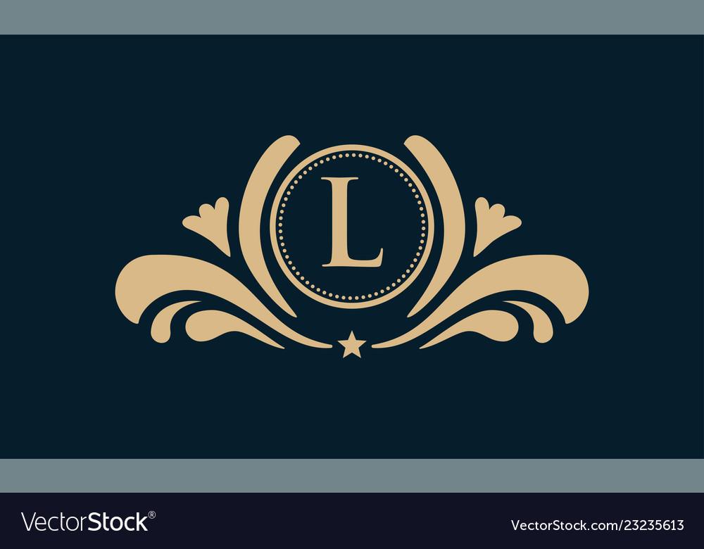 Set of elements in style of mono line luxury logo
