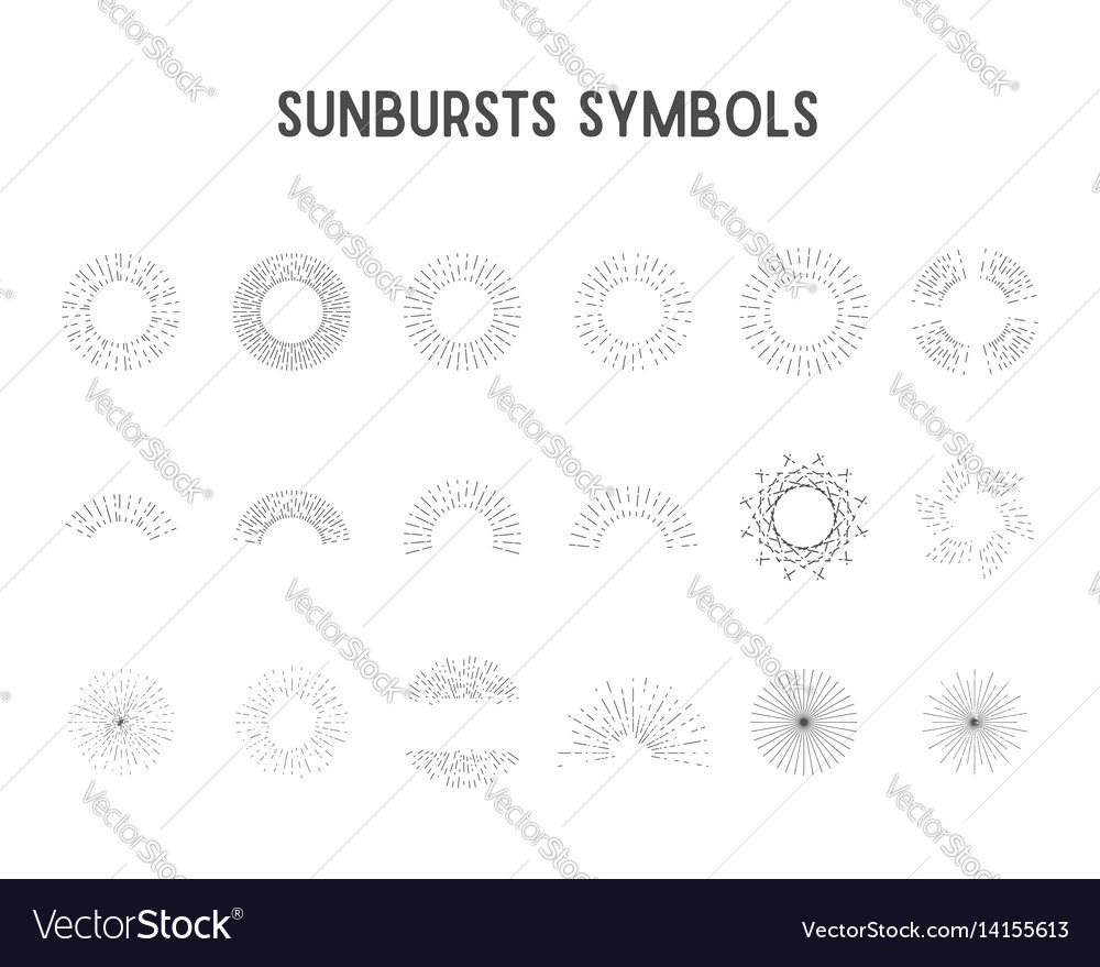 Set vintage sunbursts star lights silhouette