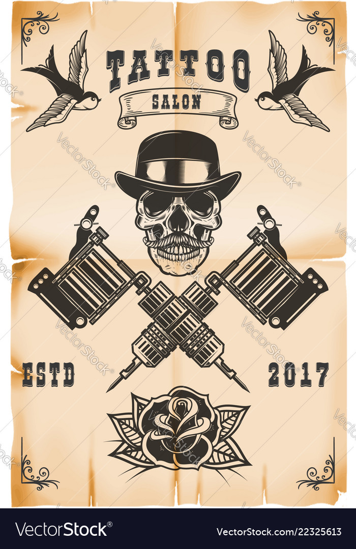 Tattoo studio poster template skull with crossed