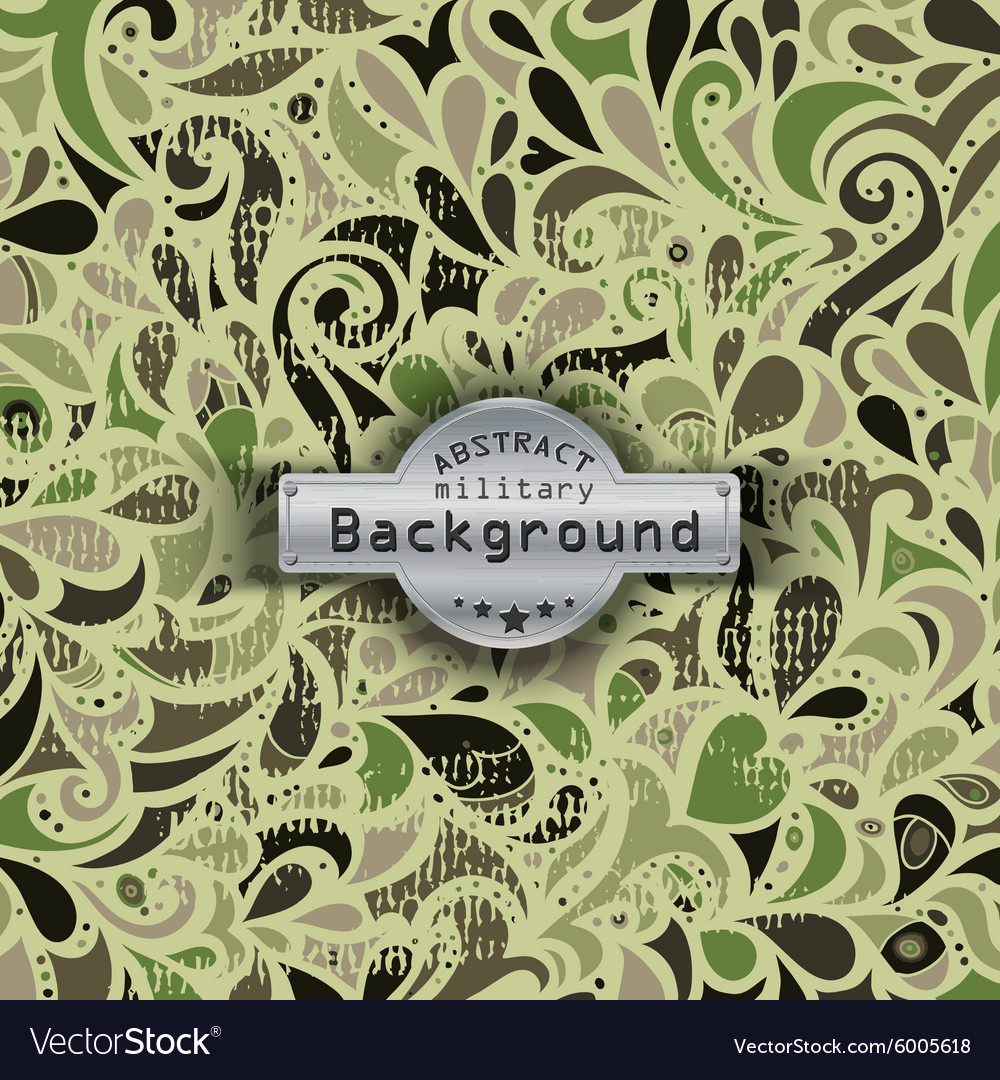 Camouflage military curly decorative pattern vector image