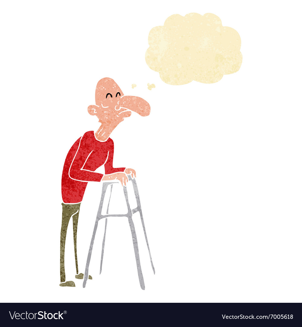 Cartoon old man with walking frame with thought Vector Image
