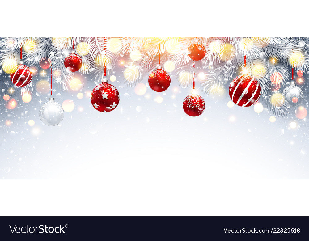 Christmas decorations with red balls and fir