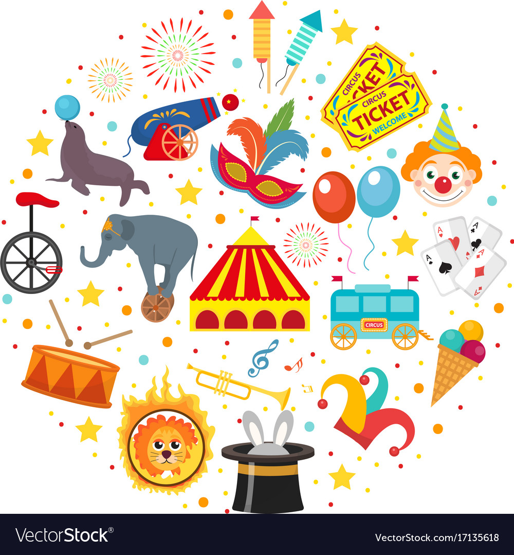 Circus icon set in round shape flat cartoon style