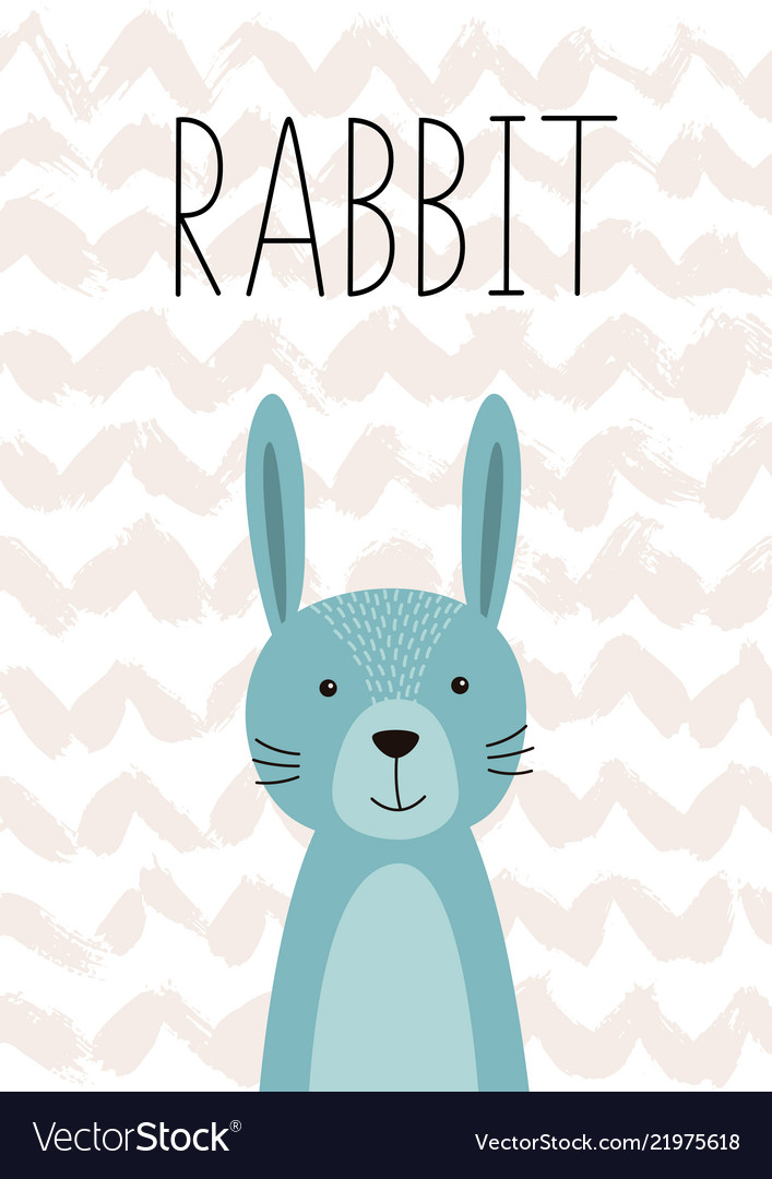 Cute rabbit poster card for kids