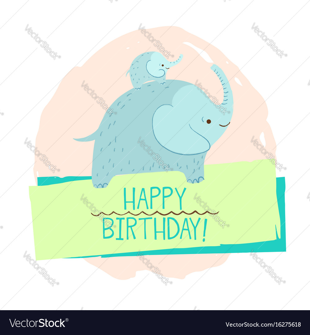 Elephant Element Of Card Vector Image On VectorStock