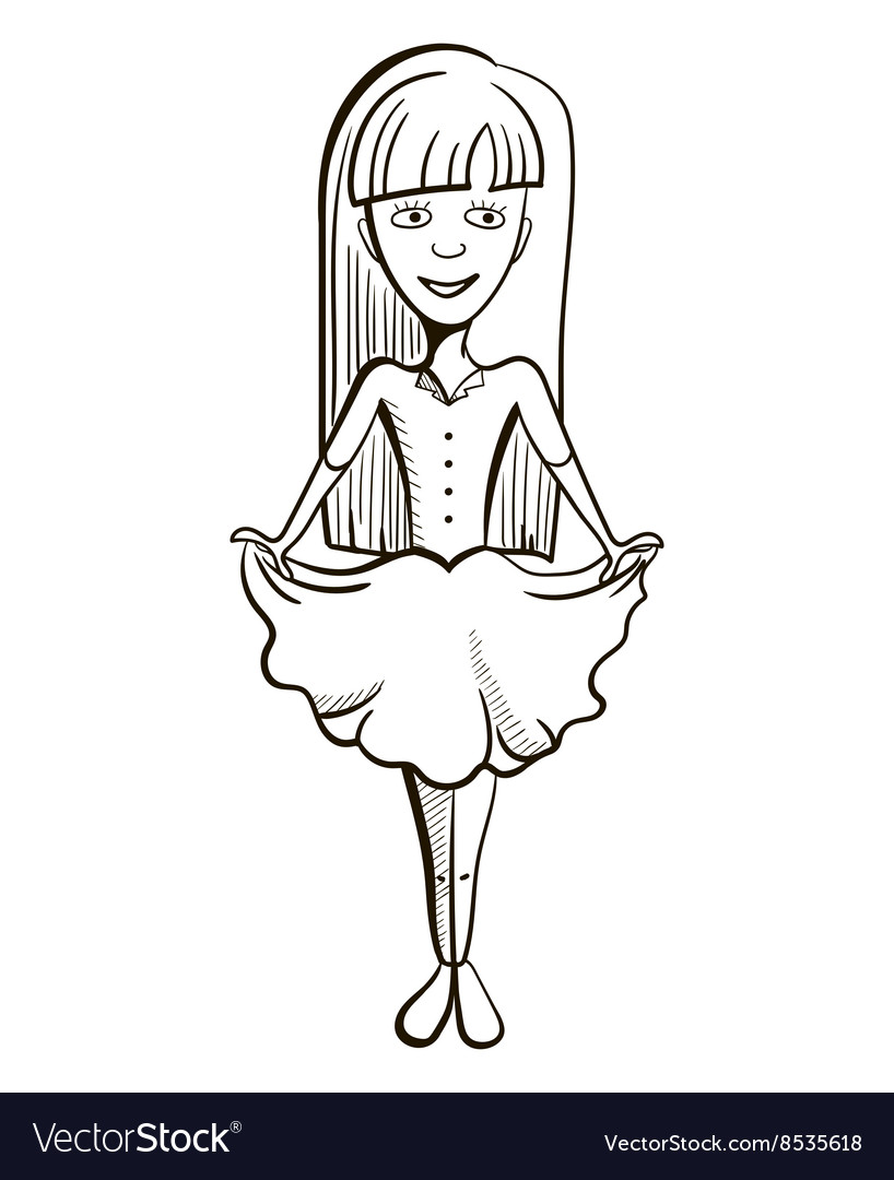 Hand Drawn Little Girl vector image