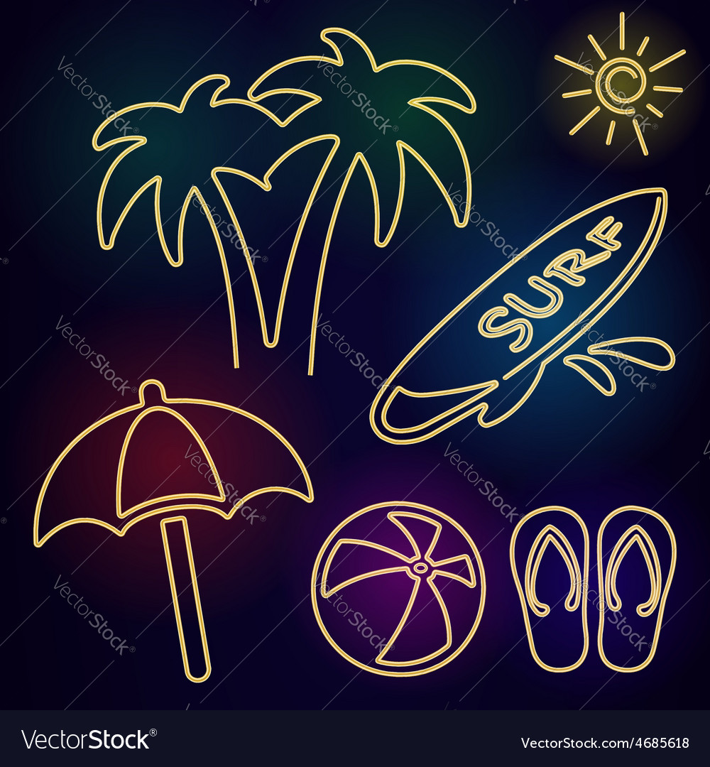 Neon Beach Icons