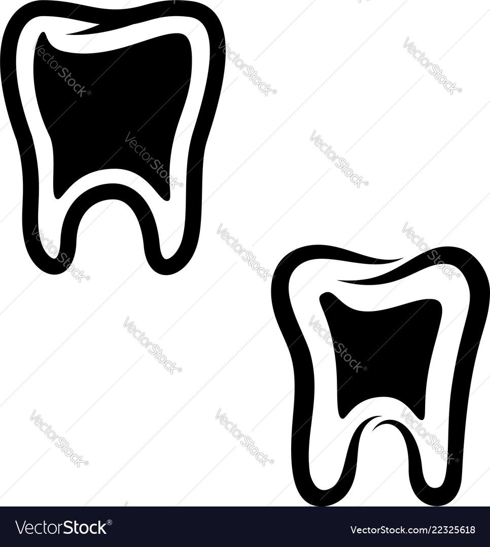 Set of teeth icons isolated on white background