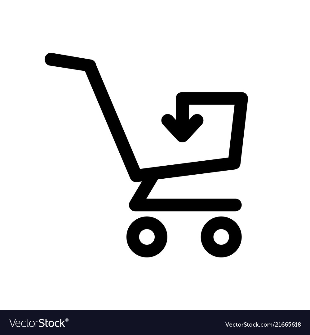 Simple shopping cart icon with arrow inside
