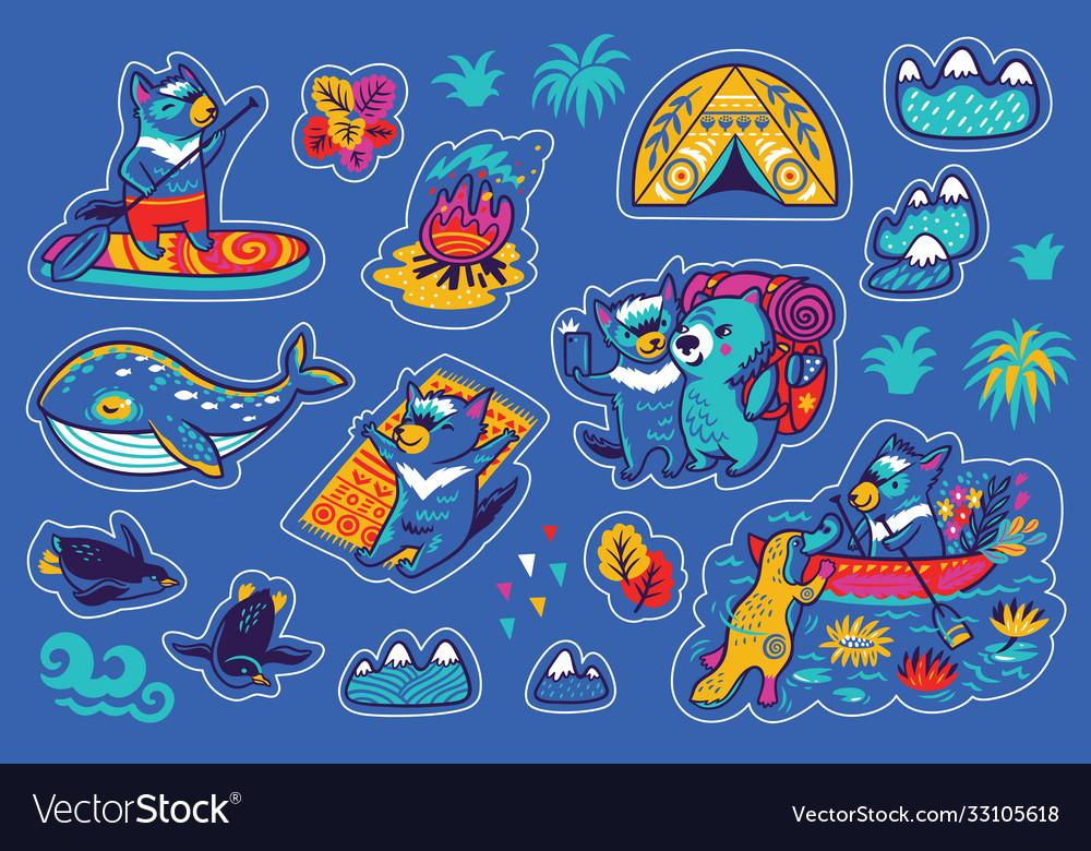 Summer vacation in tasmania sticker set