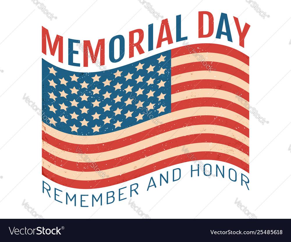 Vintage flag og usa for memory day