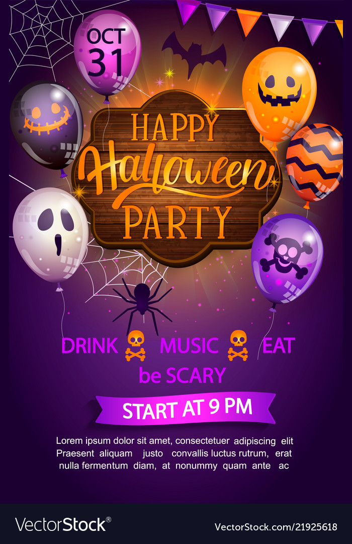 Welcome flyer for happy halloween party