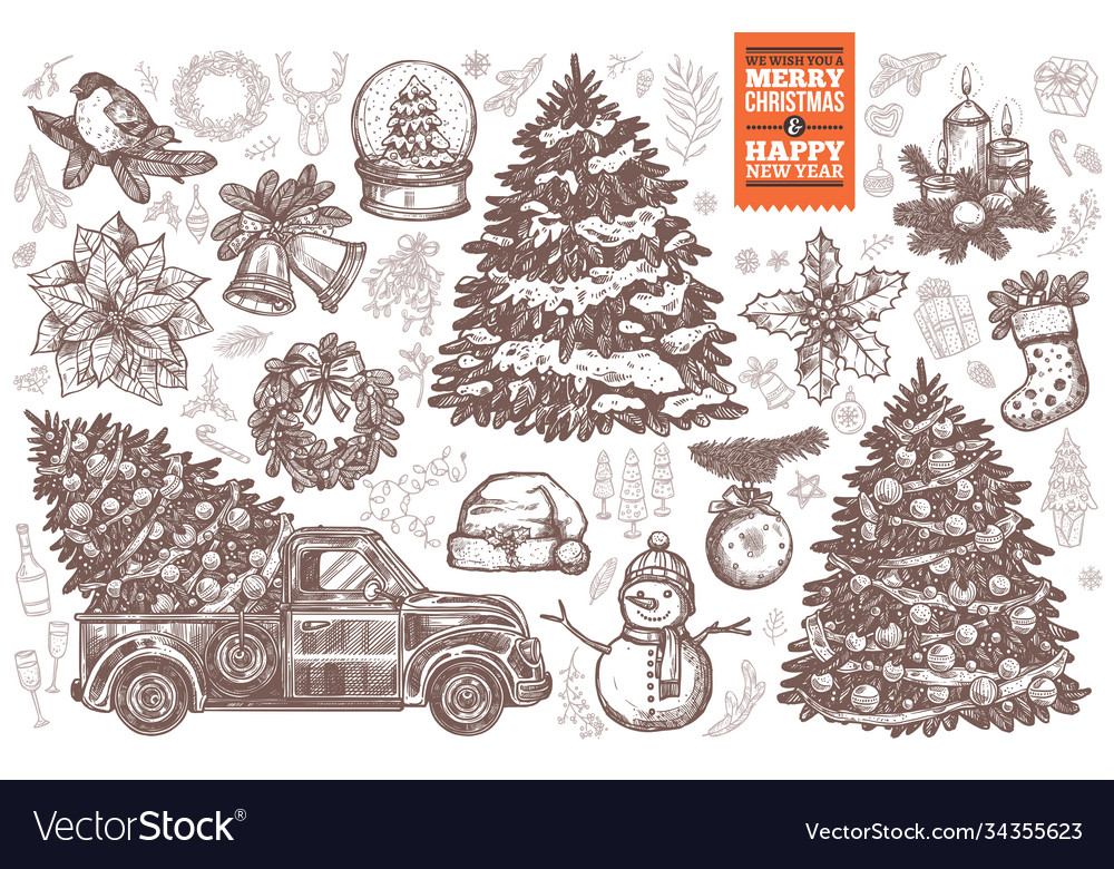 Bundle for merry christmas and new year design car