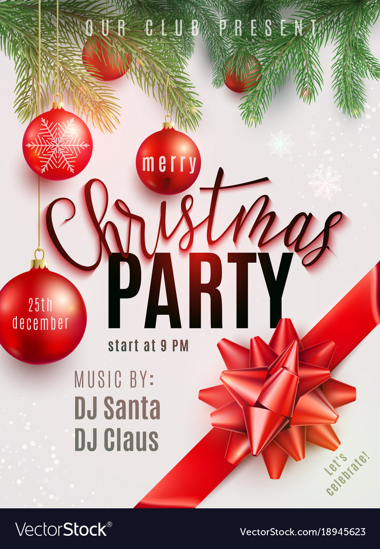 christmas party poster with hand lettering vector image