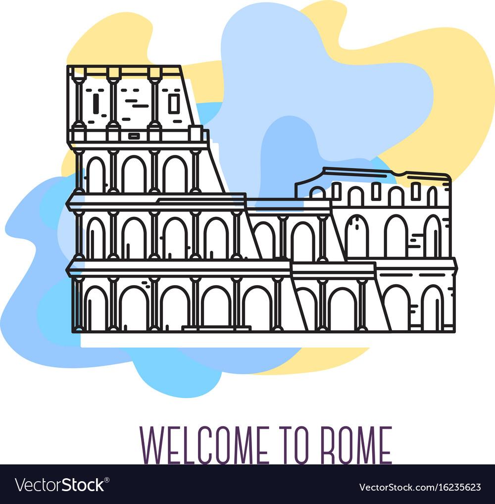 Coliseum rome landmark symbol of italy vector image