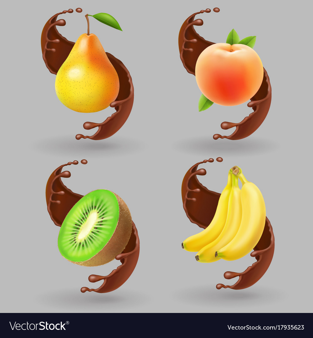 Fruit and chocolate splash realistic vector image