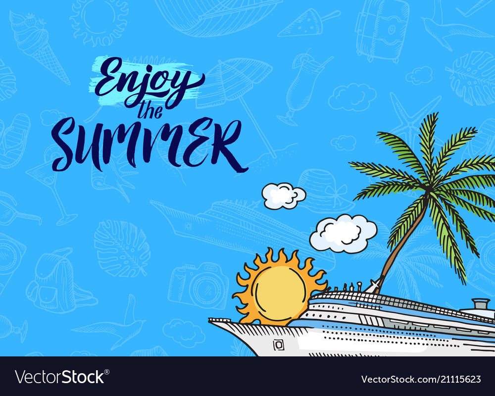 Hand drawn summer travel elements