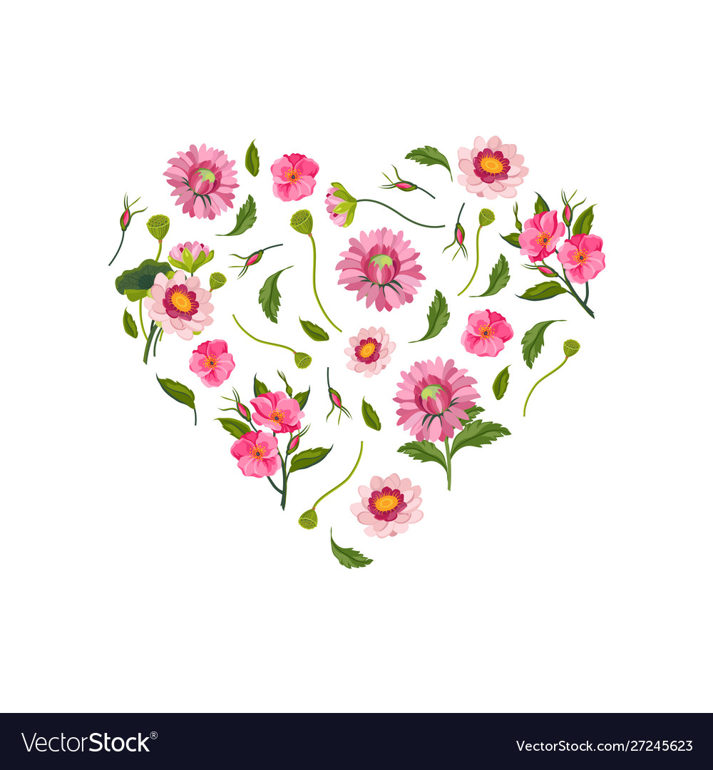 Heart made beautiful pink flowers decorative