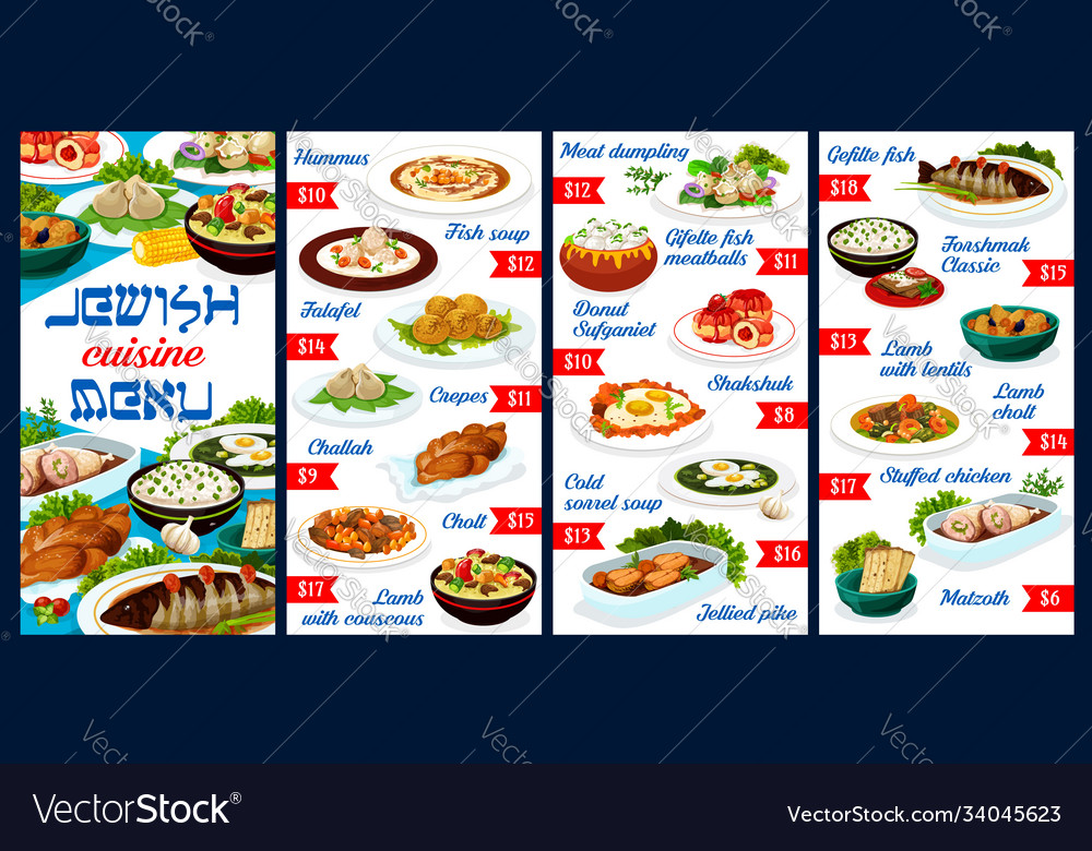 Jewish food restaurant dishes menu template