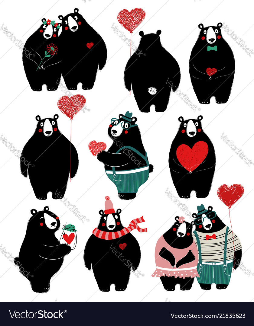Love set with single bear and couple