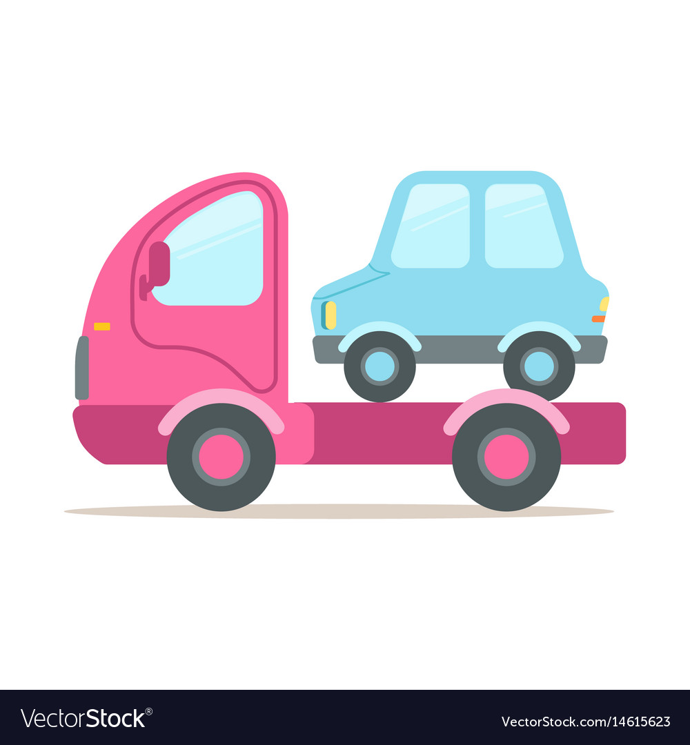Pink tow truck service of evacuation colorful