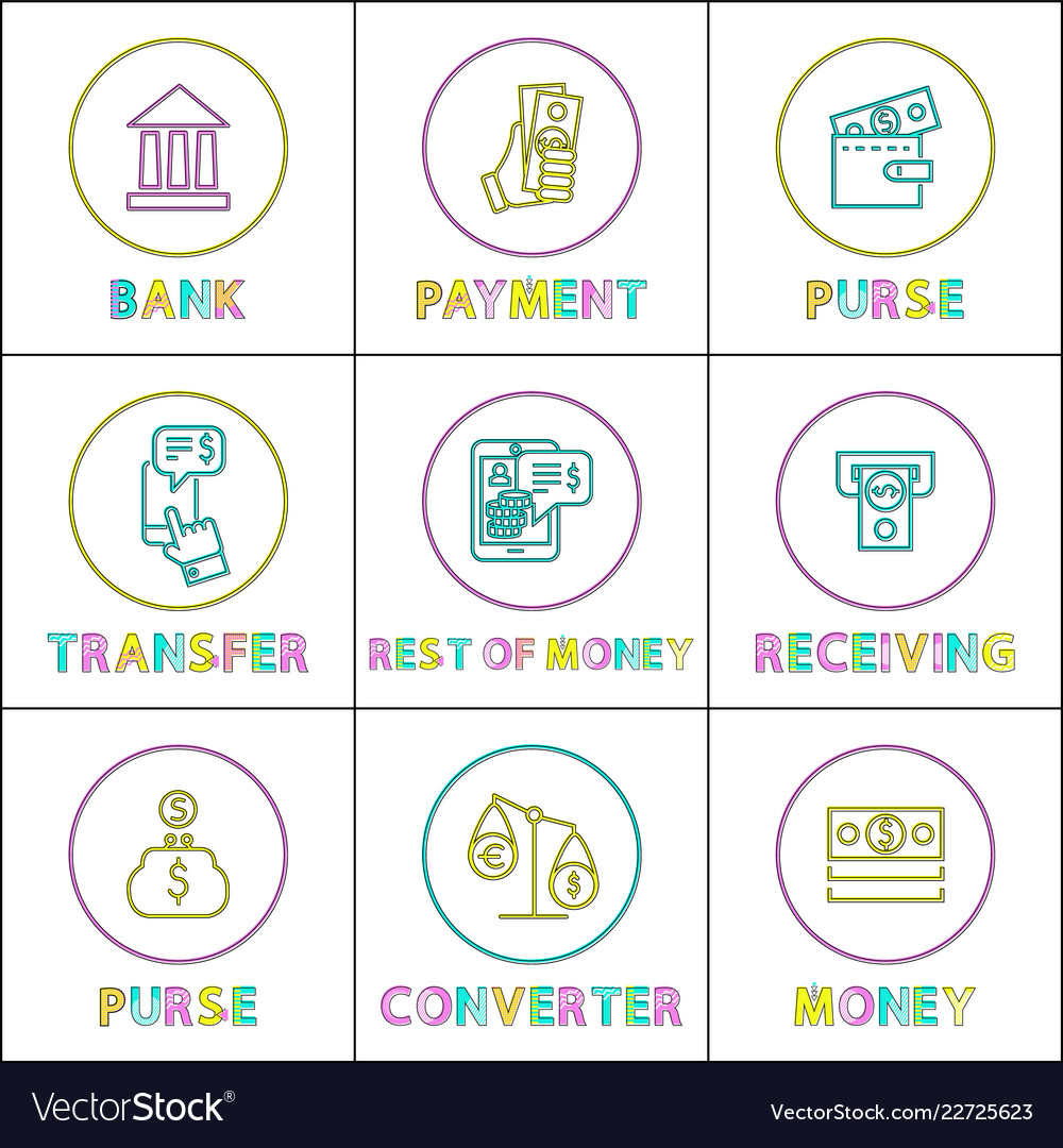 Purse With Payment And Money Converter Color Cards Vector Image