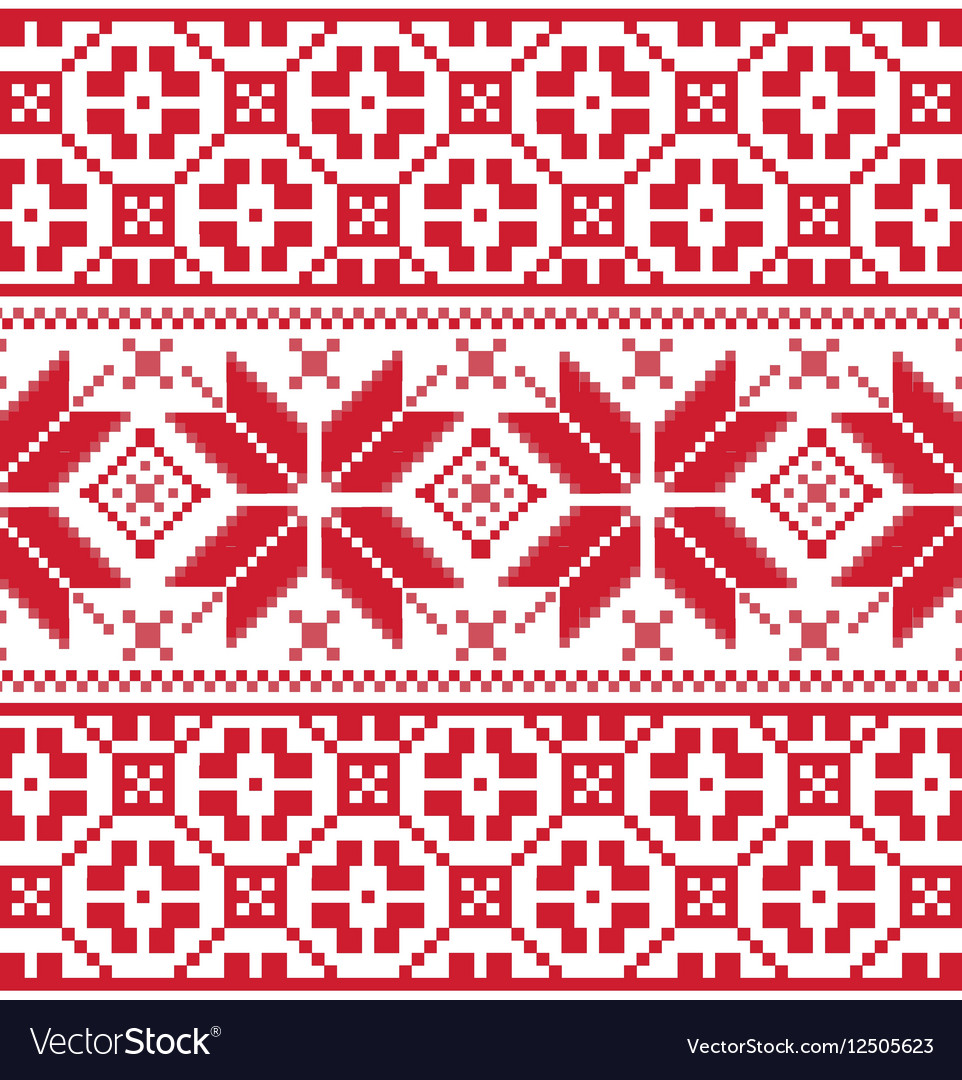 Red Scandinavian knitted pattern Royalty Free Vector Image