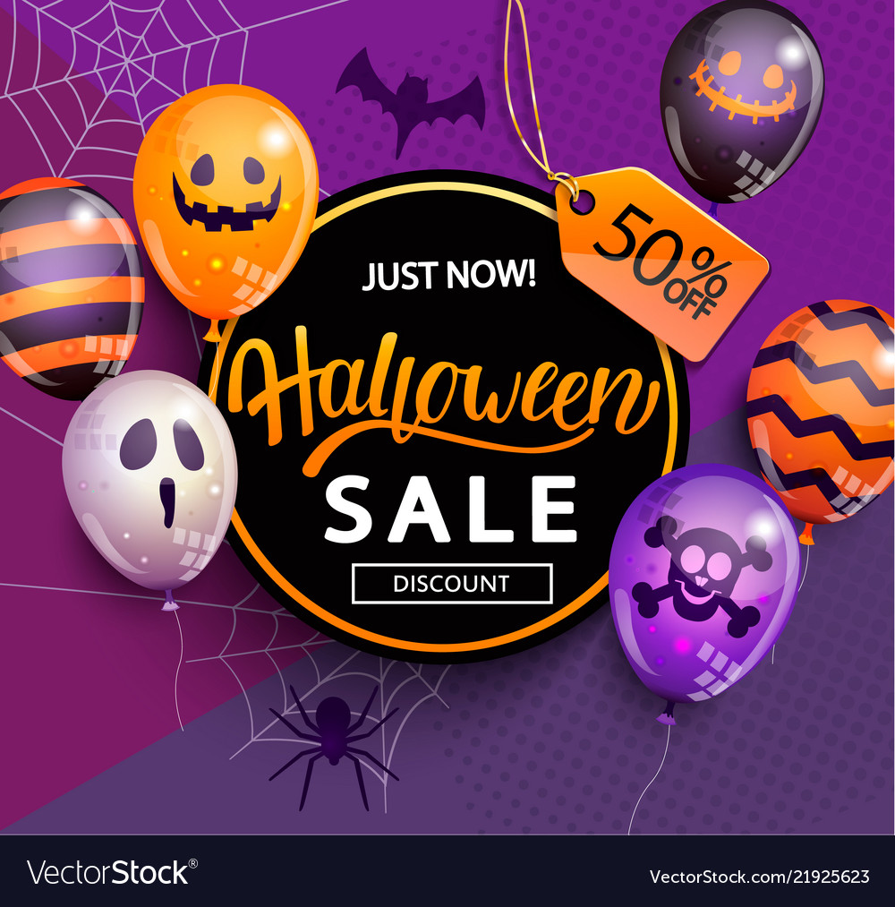 Sale and discount banner for halloween