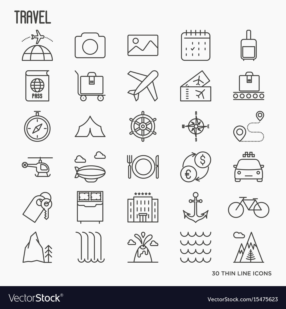 Travel and vacation related thin line icons