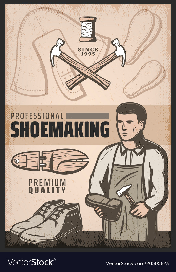Vintage colored shoemaking poster vector image
