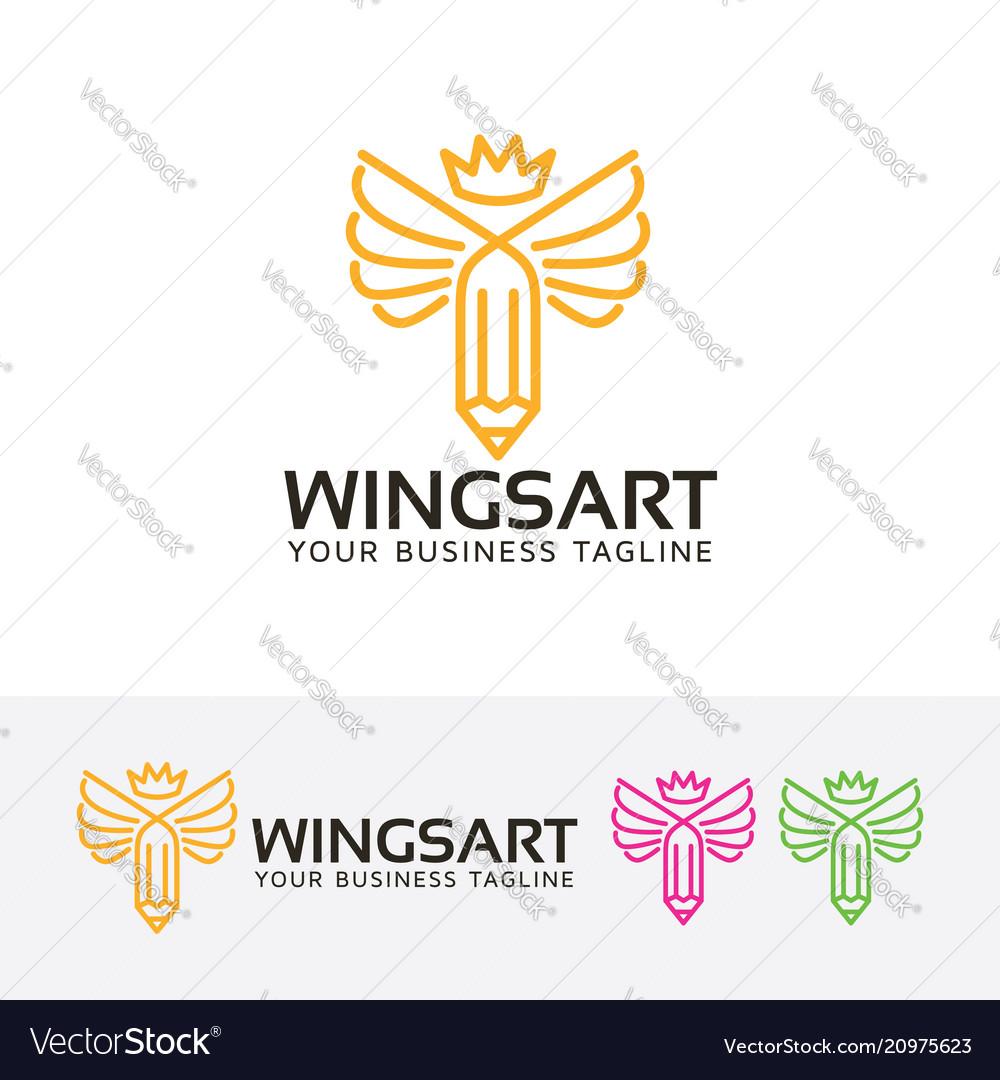 Wings art logo design