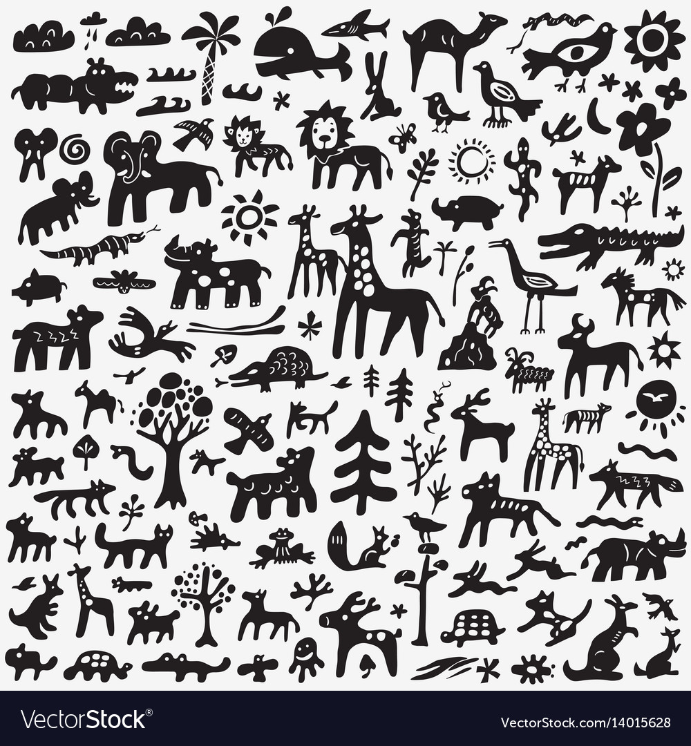 Animals doodles set