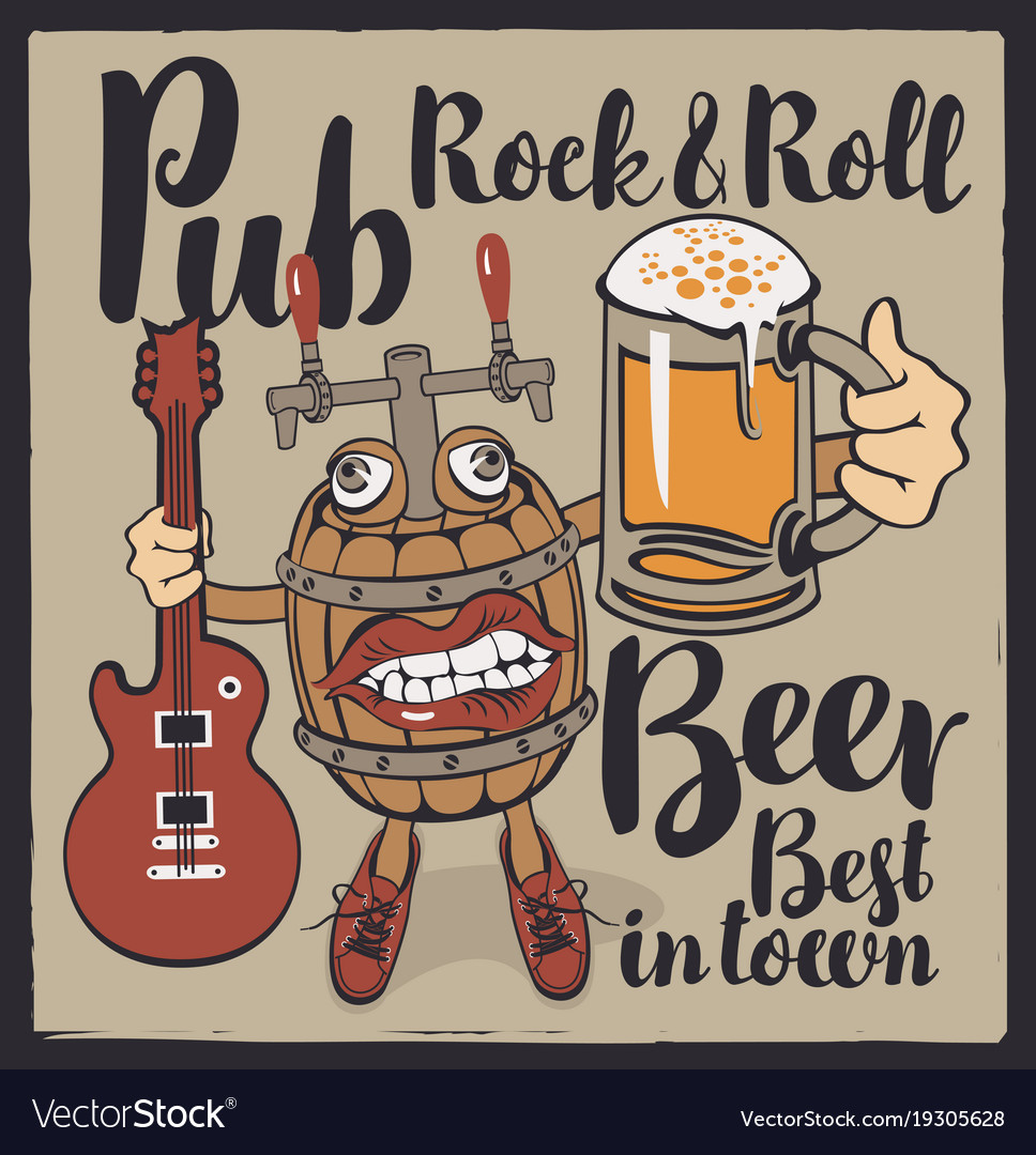Banner for rock n roll pub with funny beer barrel vector image publicscrutiny Image collections