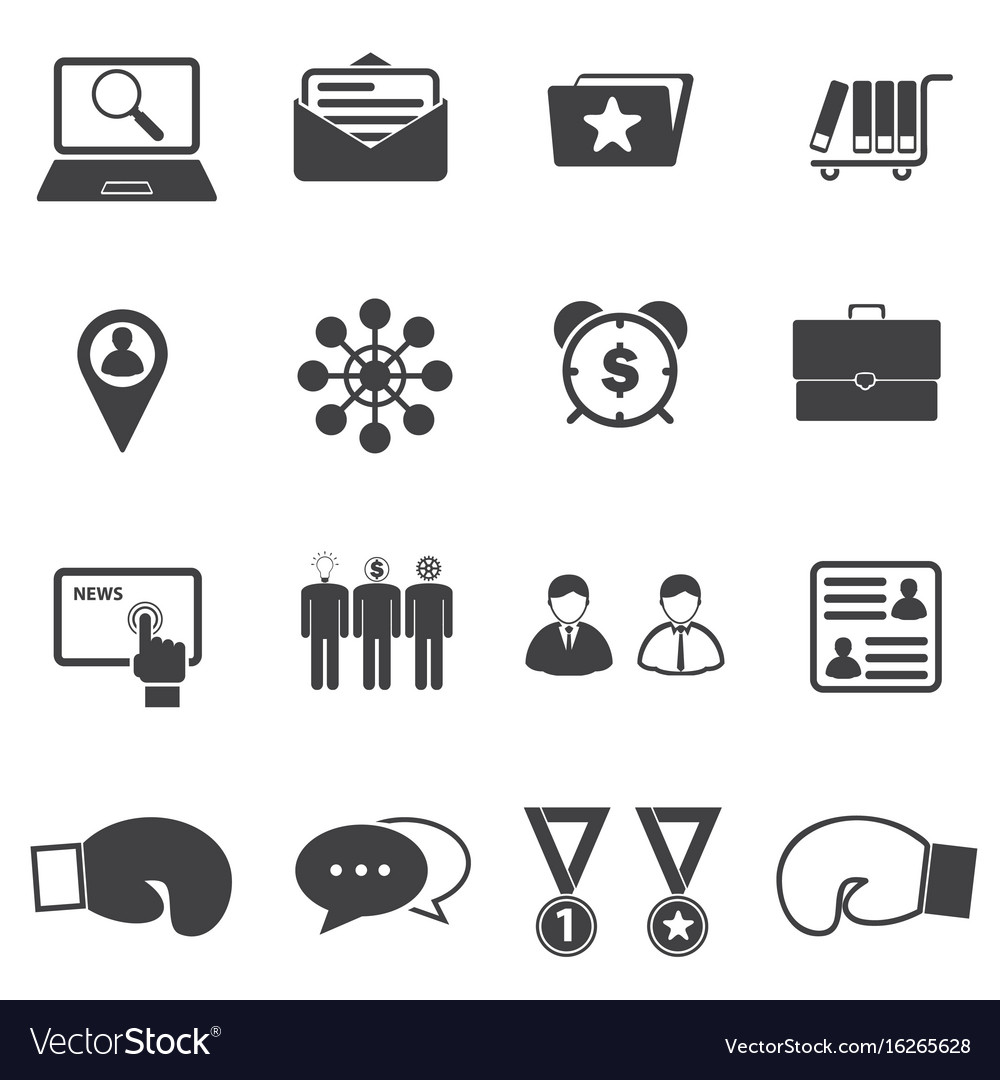 Business partners and competitors icons set vector image