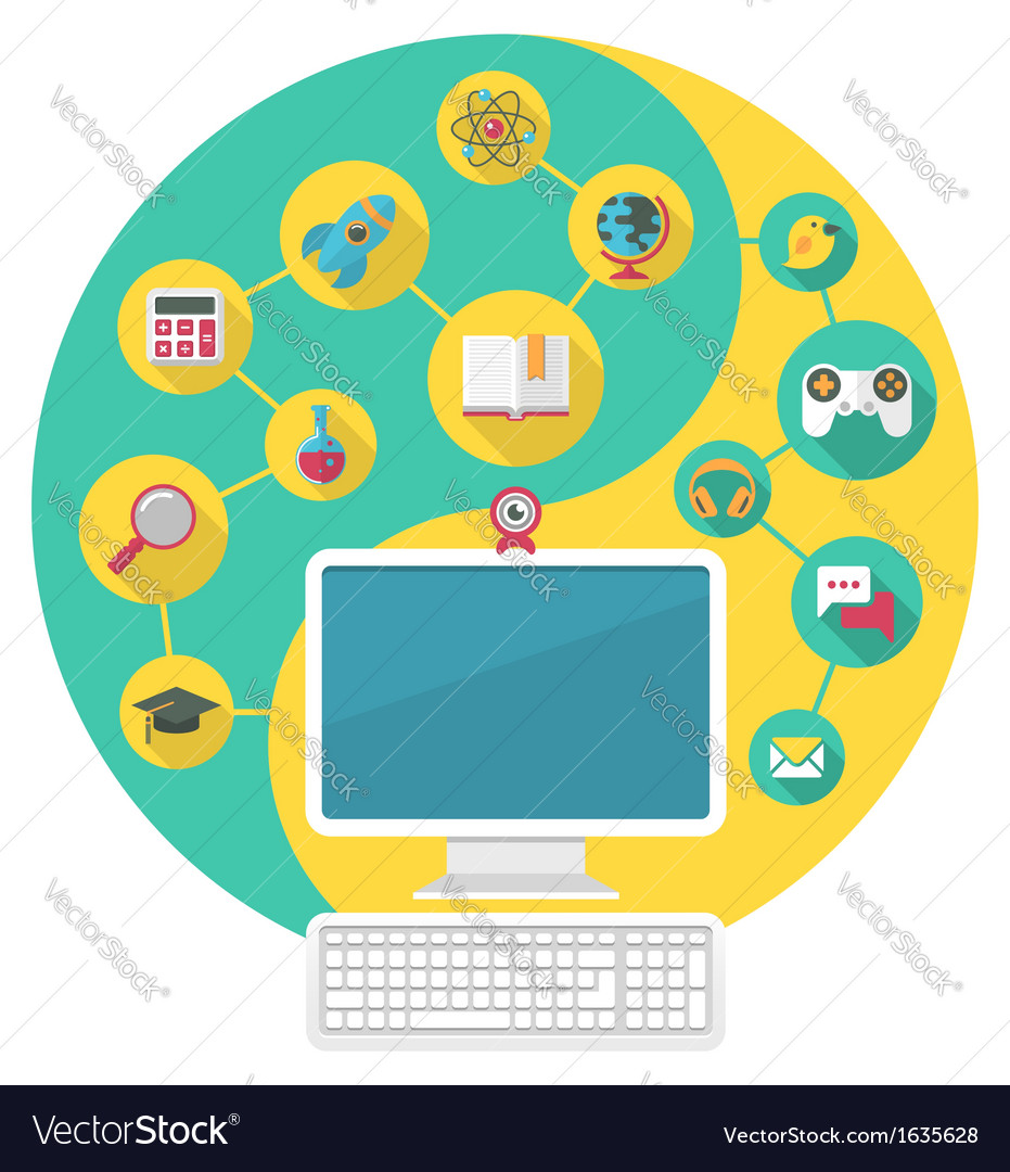 Computer for Education and Spare Time vector image