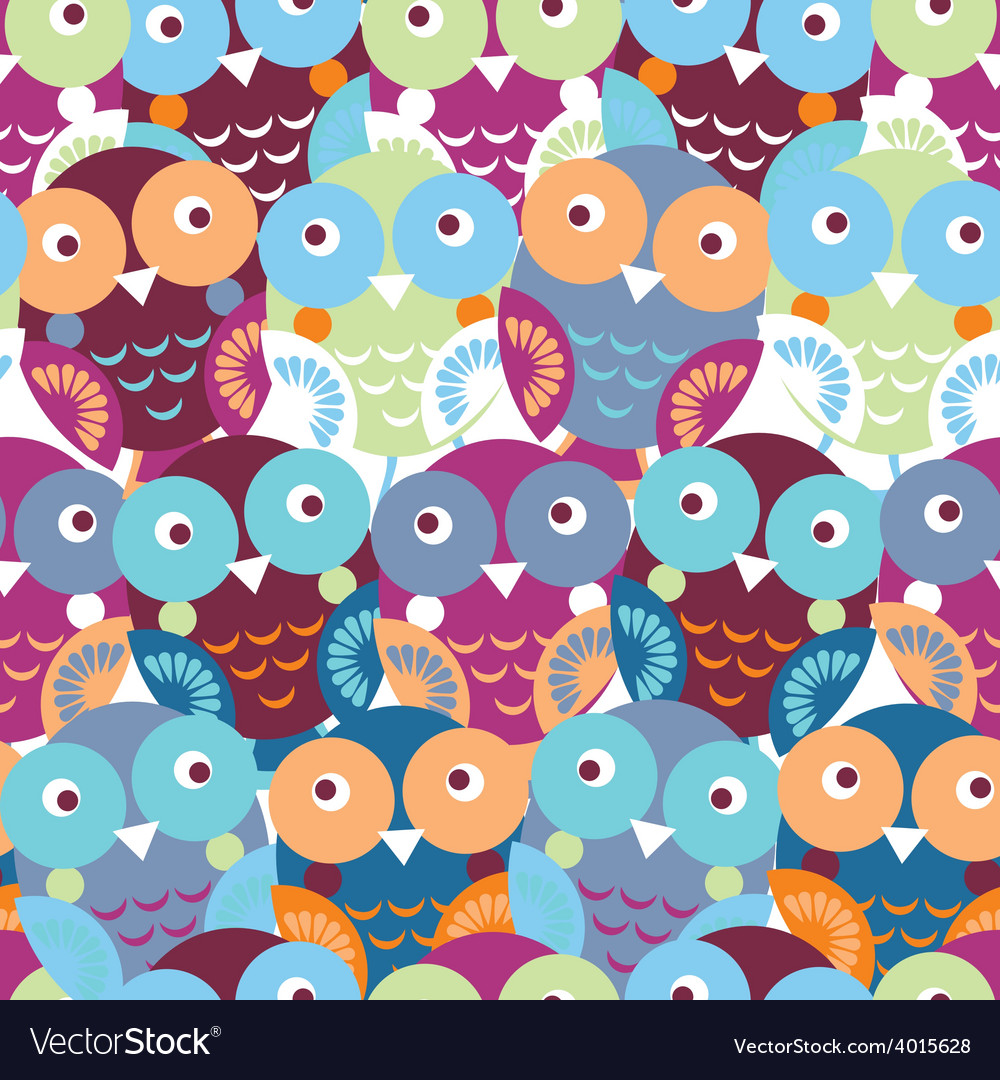 Cute colorful seamless pattern with owl Blue pink