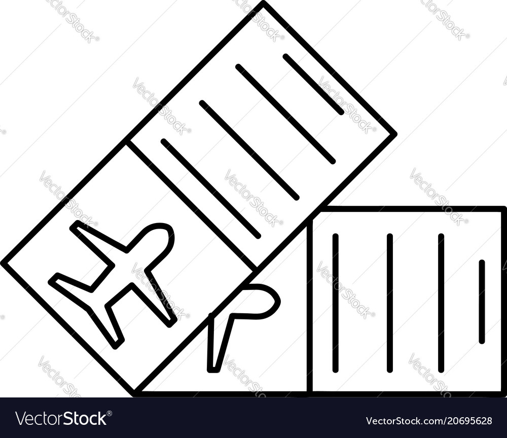 Flight Ticket Icon Vector Image