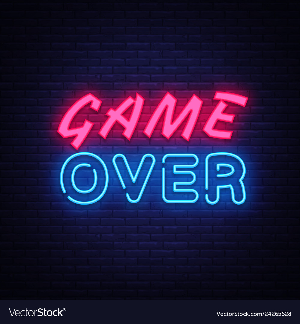 Game over neon text design template game