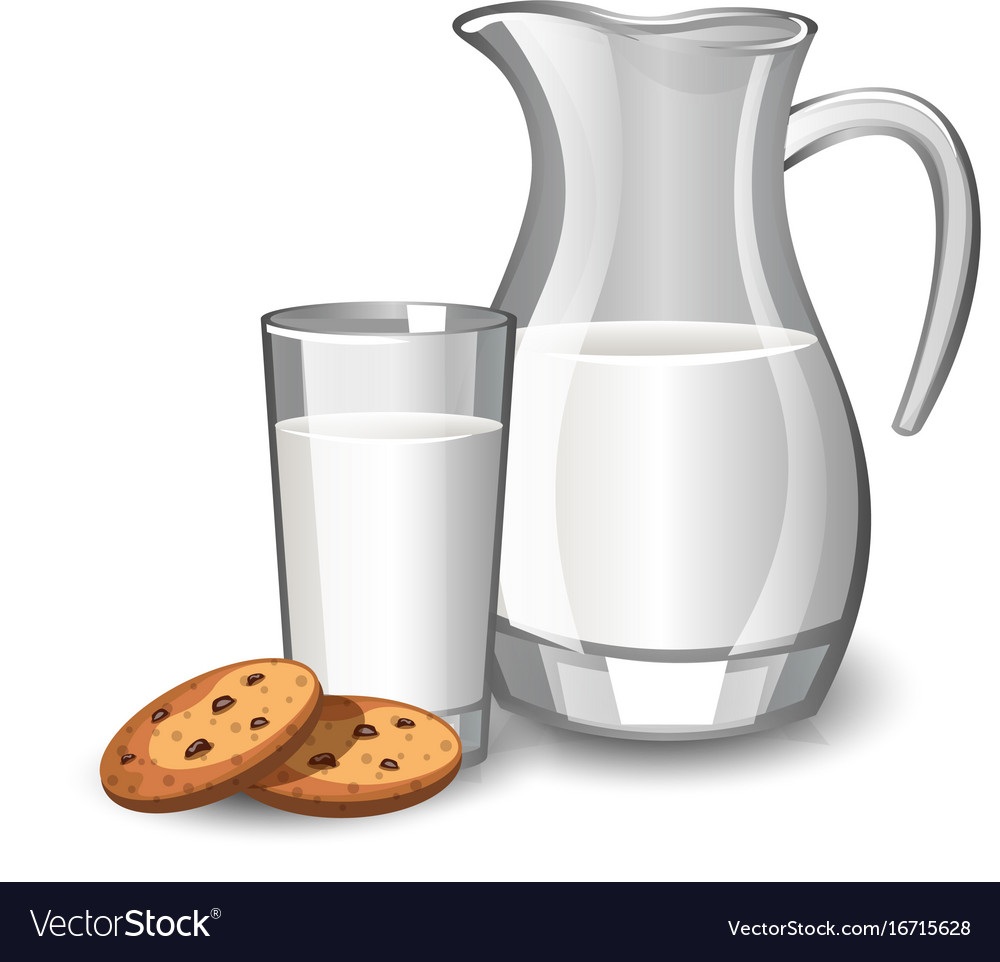 Glass with milk and baked cookies vector image