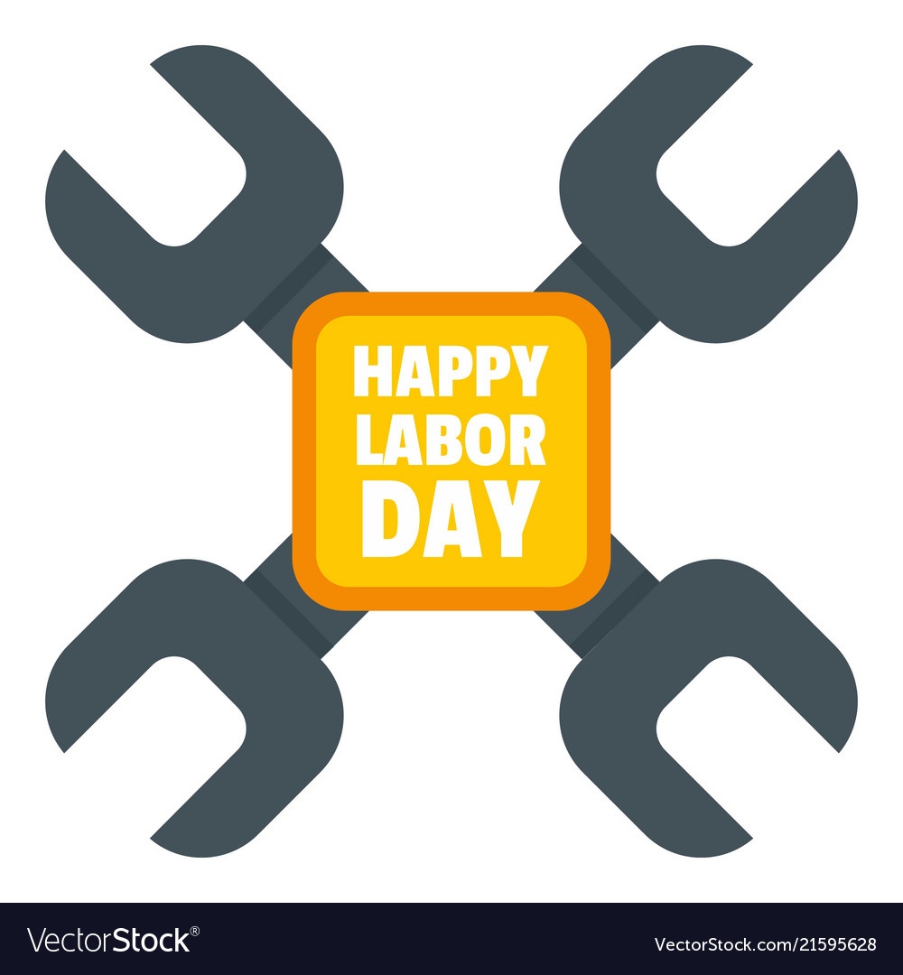 Happy labor day keys logo icon flat style