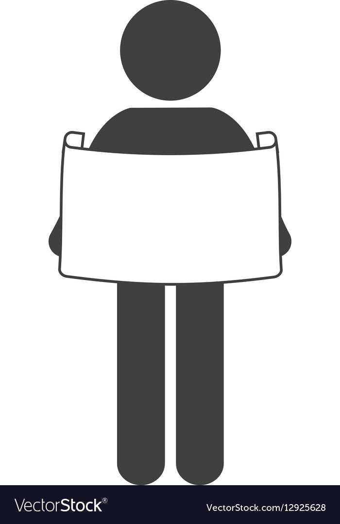 Man reading print paper figure pictogram