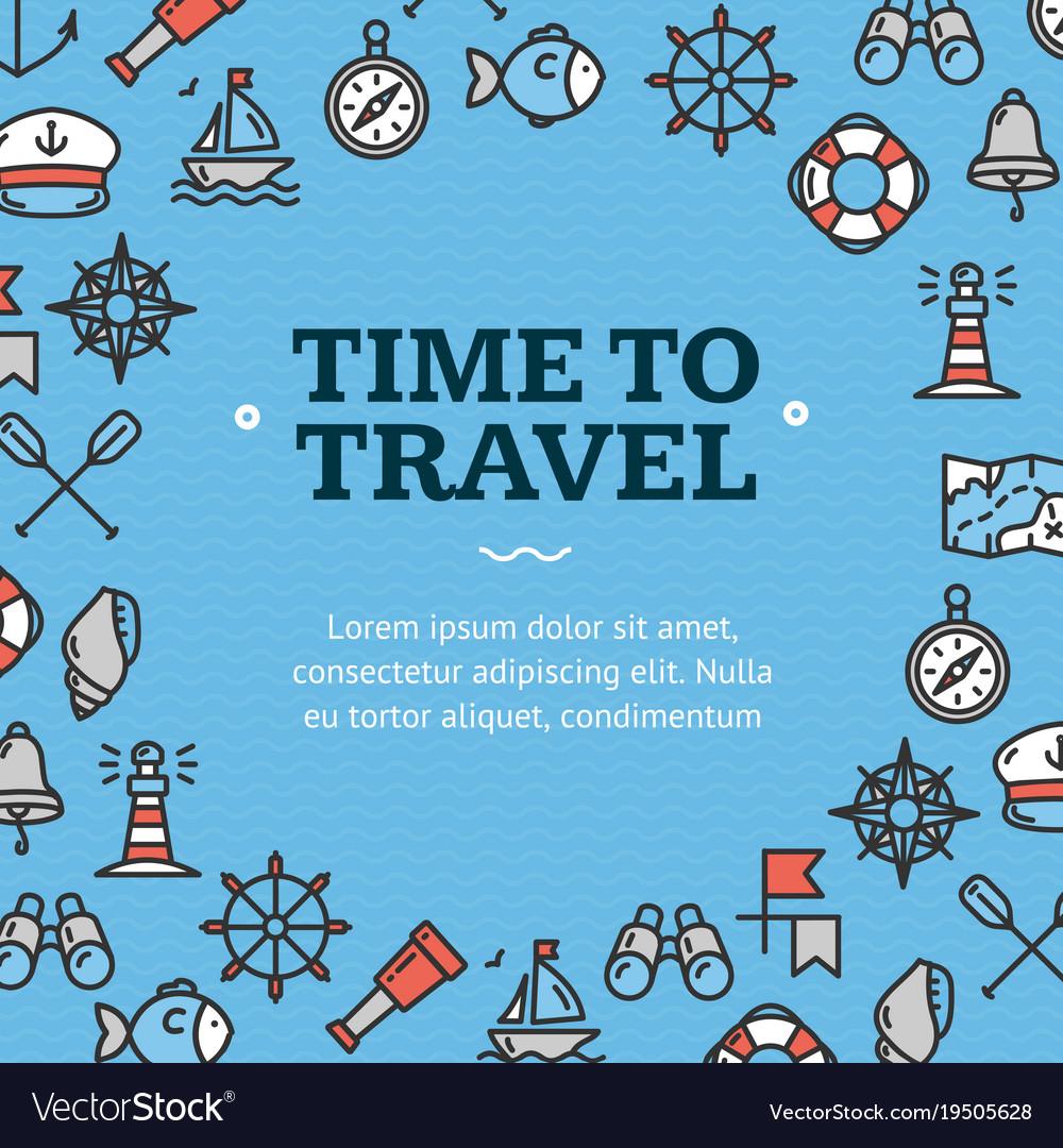 Nautical sea travel round design template line